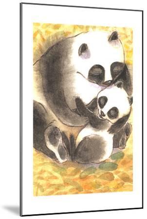 Mother Panda Bear Holding Her Cub on Orange Background--Mounted Art Print