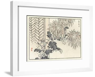 Stylized Flowers and Stems with Herringbone Structure--Framed Art Print