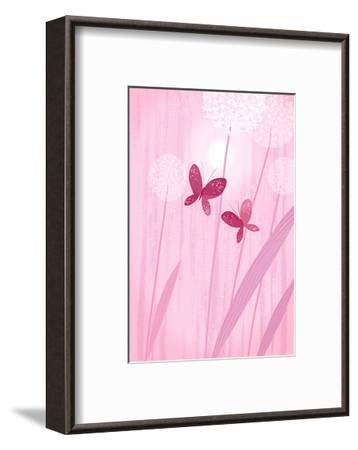 Butterflies with Dandelions on Pink--Framed Art Print