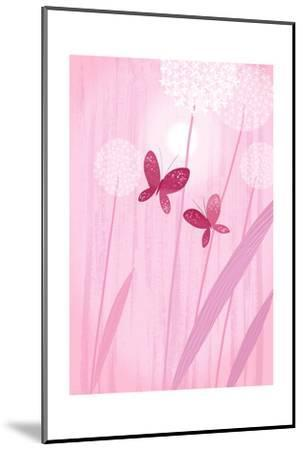 Butterflies with Dandelions on Pink--Mounted Art Print