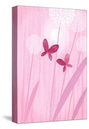 Butterflies with Dandelions on Pink--Stretched Canvas Print