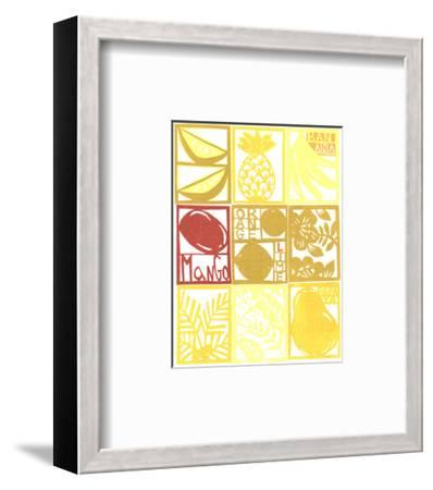 Cut Paper Tropical Fruits and Plants in a Grid--Framed Art Print
