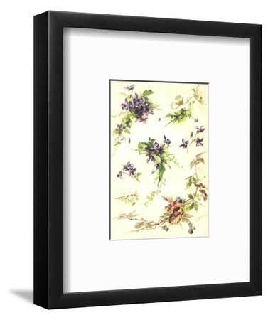 Blue Violets and Blackberry Branches--Framed Art Print
