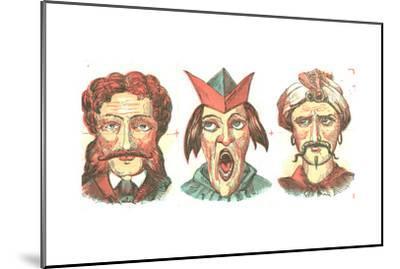 Stylized Dramatic Male Faces--Mounted Art Print