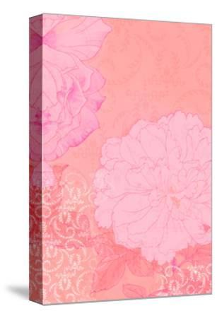 Pink Swirl Texture with Pink Flowers--Stretched Canvas Print
