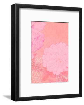 Pink Swirl Texture with Pink Flowers--Framed Art Print