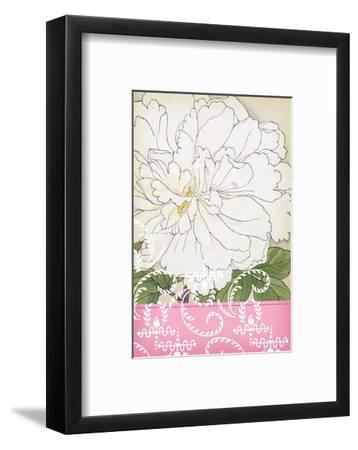 White Frilly Flower with Leafy Swirls and Pink Border--Framed Art Print