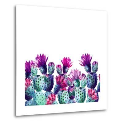 Watercolor Cactus-tanycya-Metal Print