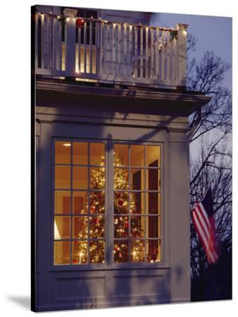 A View of a Christmas Tree Through a Window-Richard Nowitz-Stretched Canvas Print