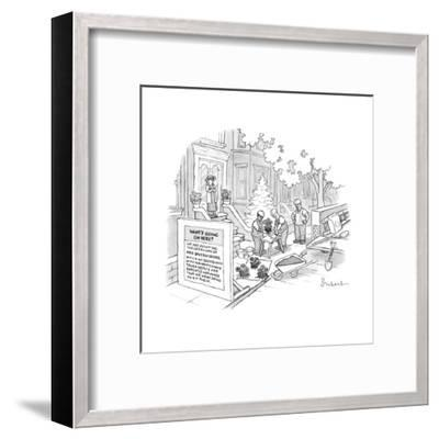 Construction workers repot plants after backing into Mrs. Beverly Seidel's... - New Yorker Cartoon-David Borchart-Framed Premium Giclee Print