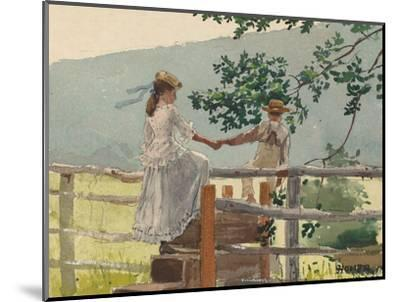 On the Stile, 1878-Winslow Homer-Mounted Giclee Print