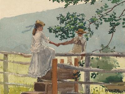 On the Stile, 1878-Winslow Homer-Stretched Canvas Print
