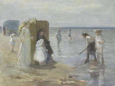 Beach of Scheveningen, with Two Ladies and Children, by Johan Antonie De Jonge, C. 1890-1920-Johan Antonie de Jonge-Stretched Canvas Print