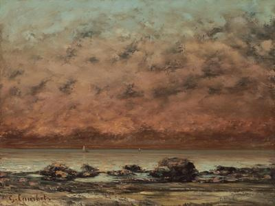 The Black Rocks at Trouville, 1865-66-Gustave Courbet-Stretched Canvas Print