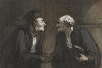 Two Lawyers Shake Hands, C. 1840-60-Honore Daumier-Stretched Canvas Print