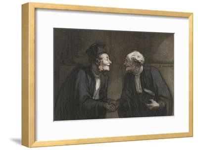 Two Lawyers Shake Hands, C. 1840-60-Honore Daumier-Framed Giclee Print
