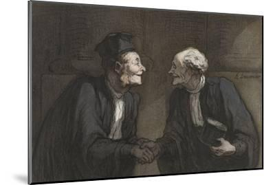 Two Lawyers Shake Hands, C. 1840-60-Honore Daumier-Mounted Giclee Print