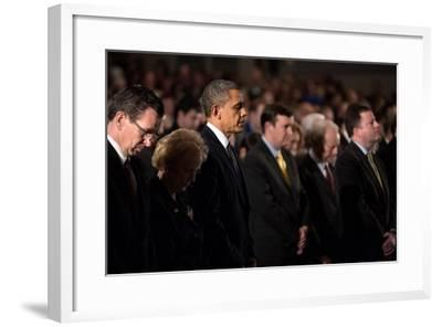 President Obama Attends a Sandy Hook Interfaith Vigil at Newtown High School in Newtown, Conn--Framed Photo