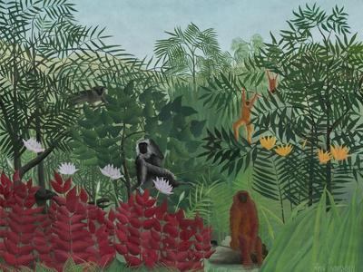 Tropical Forest with Monkeys, 1910-Henri Rousseau-Stretched Canvas Print