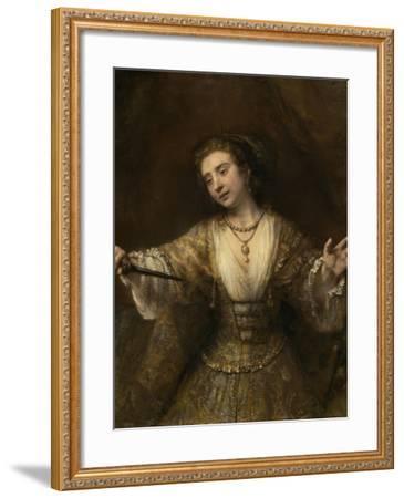 Lucretia, 1664-Rembrandt van Rijn-Framed Giclee Print