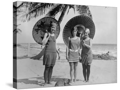 Women Pose in Bathing Suits at an American East Coast Beach Between 1910-1920--Stretched Canvas Print