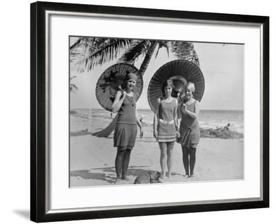 Women Pose in Bathing Suits at an American East Coast Beach Between 1910-1920--Framed Photo