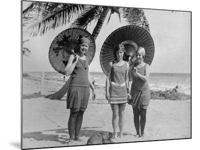 Women Pose in Bathing Suits at an American East Coast Beach Between 1910-1920--Mounted Photo