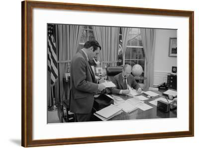 President Gerald Ford Meeting with His Chief of Staff, Donald Rumsfeld. Feb. 6, 1975--Framed Photo