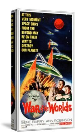 The War of the Worlds, Bottom from Left: Gene Barry, Ann Robinson on 1965 Poster Art, 1953--Stretched Canvas Print