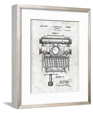 Typewriter-Patent-Framed Art Print