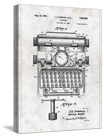 Typewriter-Patent-Stretched Canvas Print