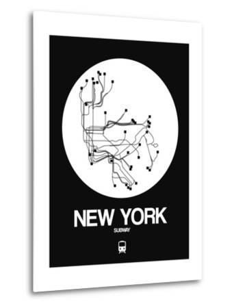 New York White Subway Map-NaxArt-Metal Print