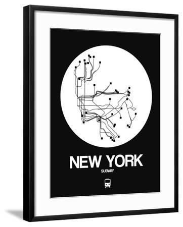 New York White Subway Map-NaxArt-Framed Art Print