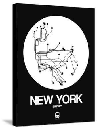 New York White Subway Map-NaxArt-Stretched Canvas Print