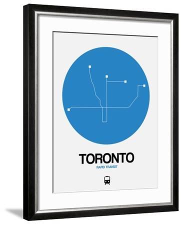 Toronto Blue Subway Map-NaxArt-Framed Art Print