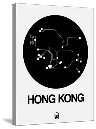 Hong Kong Black Subway Map-NaxArt-Stretched Canvas Print
