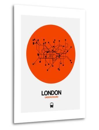 London Orange Subway Map-NaxArt-Metal Print