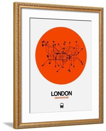 London Orange Subway Map-NaxArt-Framed Art Print