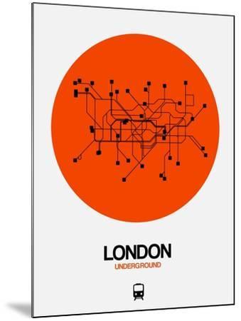 London Orange Subway Map-NaxArt-Mounted Art Print