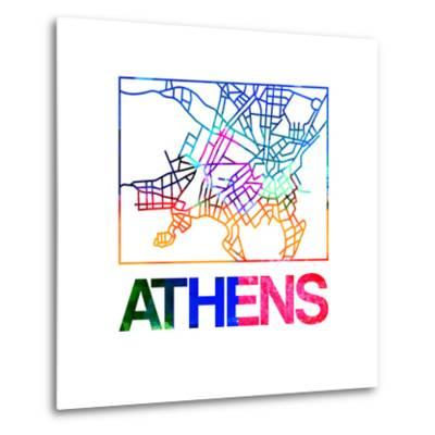 Athens Watercolor Street Map-NaxArt-Metal Print
