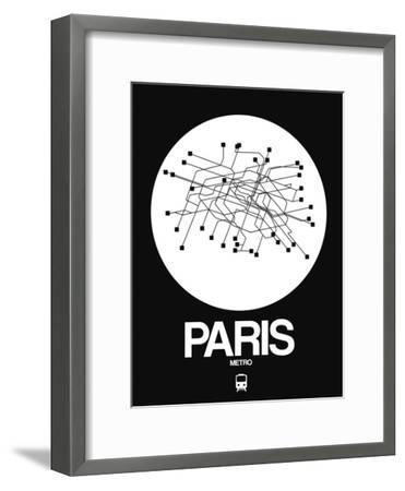 Paris White Subway Map-NaxArt-Framed Art Print