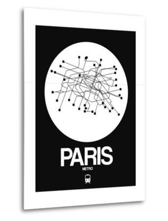Paris White Subway Map-NaxArt-Metal Print