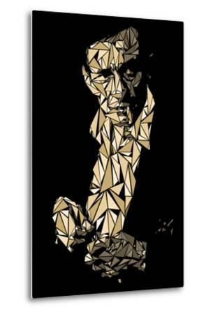 Johnny Cash-Cristian Mielu-Metal Print