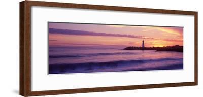 Lighthouse on the Coast at Dusk, Walton Lighthouse, Santa Cruz, California, USA--Framed Photographic Print