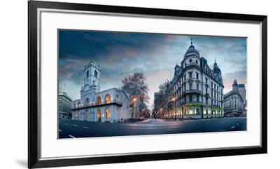 Buenos Aires Cabildo on Plaza De Mayo at Dusk, Buenos Aires, Argentina--Framed Premium Photographic Print