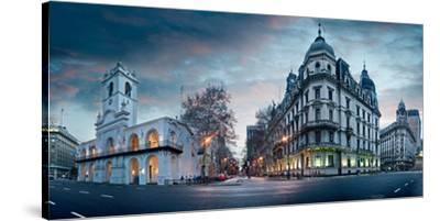Buenos Aires Cabildo on Plaza De Mayo at Dusk, Buenos Aires, Argentina--Stretched Canvas Print