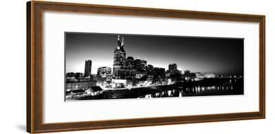 Skylines at Night Along Cumberland River, Nashville, Tennessee, USA--Framed Photographic Print