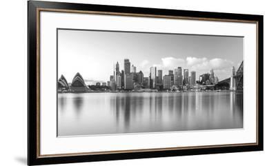 Sydney Harbour Bridge and Skylines at Dusk, Sydney, New South Wales, Australia--Framed Premium Photographic Print