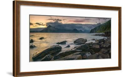 Rocky Coast of Loch Scavaig with Cuillin Mountains at Sunset, Isle of Skye, Scotland--Framed Photographic Print