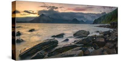 Rocky Coast of Loch Scavaig with Cuillin Mountains at Sunset, Isle of Skye, Scotland--Stretched Canvas Print